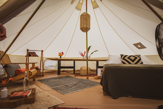 Private tent with queen bed