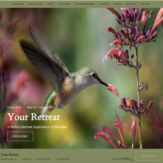 Custom Retreat Page & Marketing