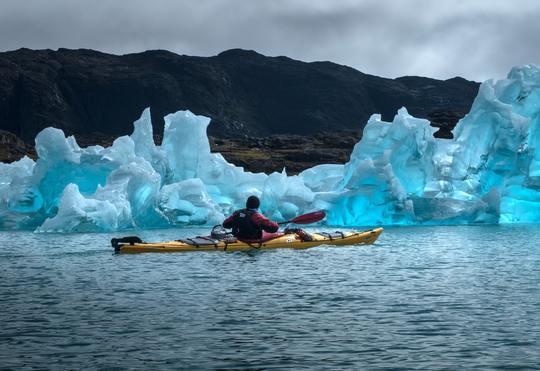 Kayak with Icebergs