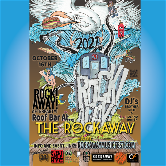 ROCK! AWAY! AFTERPARTY AT THE ROOFTOP BAR AT THE ROCKAWAY HOTEL W/DJs BROTHER RICH AND ROLAND!
