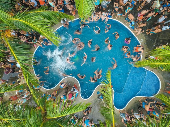 areal view of a pool party sunday funday in san juan del sur nicaragua travel