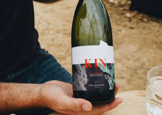 Chilled bottle of local KIN Pinot Gris
